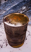 Rusty Oil Drum on a Beach — Stock Photo