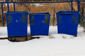 Blue garbage cans — Стоковое фото