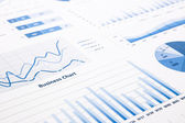 Blue business charts, graphs, statistic and reports — Stock Photo