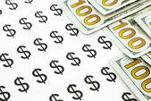 Banknoty walut dolara i ceny — Zdjęcie stockowe