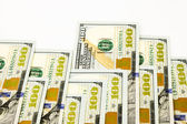 New edition 100 dollar banknotes, money for bonus and dividend c — Stock Photo