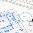 House blueprints and floor plan with tablet — Stock Photo #50148519