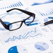 Blue business charts, graphs, document and paperwork — Stock Photo #50157177