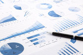 Blue charts, graphs, data and reports — Stock Photo