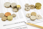 World coins stack on funding account summarizing for financial c — Stock Photo