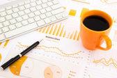 Graphs, charts, data report  — Stock Photo