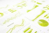 Green graphs, charts, marketing research and  business annual re — Stock Photo