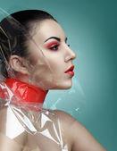 Red makeup — Stok fotoğraf