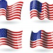 Wektor stockowy : 4 Flags of United States of America
