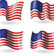 图库矢量图片: 4 Flags of United States of America