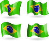 4 Flags of Brazil — Stock Vector