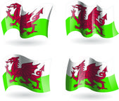 4 Flags of Wales — Stock Vector