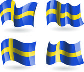 4 Flags of Sweden — Stock Vector