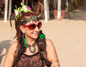 An unidentified woman in carnival costume at the annual festival of Freaks, Arambol beach, Goa, India, February 5, 2013. — Stock Photo