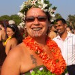 A woman in a flower costume at the annual festival, Arambol beach, Goa, India, February 5, 2013. — Stock Photo
