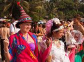 Two unidentified women in carnival costumes at the annual festival, Arambol beach, Goa, India, February 5, 2013. — Stock Photo