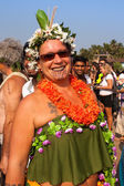 Portrait of an unidentified woman in a flower costume at the annual festival of Freaks, Arambol beach, Goa, India, February 5, 2013. — Stock Photo