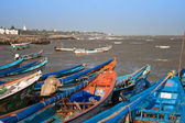22.01.2013 - Kanyakumari, Tamil Nadu, India. Fishing boats on the jetty. — Stock fotografie