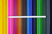 In a row in the various color pencil — 图库照片