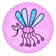 Flying pink mosquito with blue wings — Stock Vector #29783423