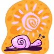 Pink Snail and sunny day. — Stock Vector