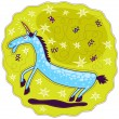 Blue unicorn with a golden horn is raised front legs. — Векторная иллюстрация