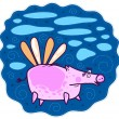 A large pink pig flying on the wings — Stock Vector