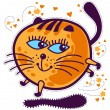 Stock Vector: Prancing round orange kitten with blue eyes.