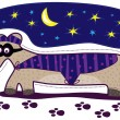 Stock Vector: Long dog detective in polkdot cape and mask