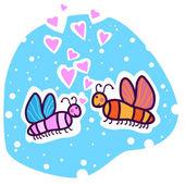 Dos mariposas de colores sobre un fondo de cielo azul. — Vector de stock