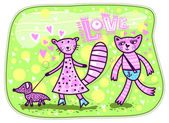 In love pink cat goes for a pink cat. — Stock Vector