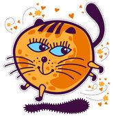 Prancing round orange kitten with blue eyes. — Stock Vector