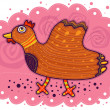 Cute little hen cartoon — Stock Vector