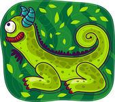 Green chameleon — Stock Vector