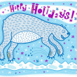 Bear jumped up in surprise when he saw snowflakes. Holidays greetings. — Stock Vector