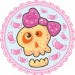 Love skull with pink bow on a blue background with lace pink border. — Stock Vector