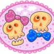 Two enamored skulls with bows on a pink background with flowers and white clouds. — Stock Vector