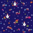 Pattern, dark blue background with flying Santa Clause, snowmen and presents.  — Stock Vector