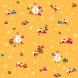 Pattern, yellow background with flying Santa Clause, snowmen and presents. — Stock Vector