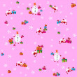 Pattern, pink background with flying Santa Clauses, snowmen and presents. — Stock Vector #36221255