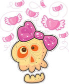 Fall in love skull with pink bow. Above the skull flying pink hearts with wings. — Stock Vector