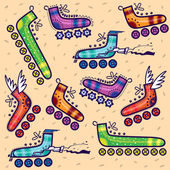 Seamless pattern with retro roller skates — Stock Vector