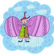 Elf with a cap on his head with  wings — Stock Vector #43436065
