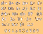 Alfabeto de dibujos animados con números — Vector de stock