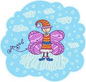 Angel with pink wings like a butterfly — Stockvektor