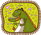 Dinosaur with a hat on his head and with a flower — Stockvektor