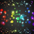Abstract rainbow glowing circles with lights and dark background — Stock Vector