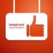 Pollice su sfondo di applique a mano segno. illustrazione vettoriale per la presentazione. — Vettoriale Stock