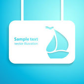Sail boat applique blue background. Vector illustration. — Stock Vector
