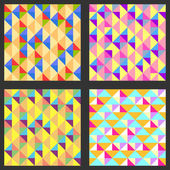 Set of four geometric pattern. Texture with triangles, rhombs. — Stock Vector